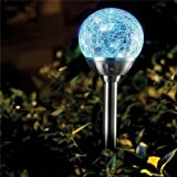 6 x Stainless Steel Colour Changing Solar Crackle Ball Light Ice Orb Globe
