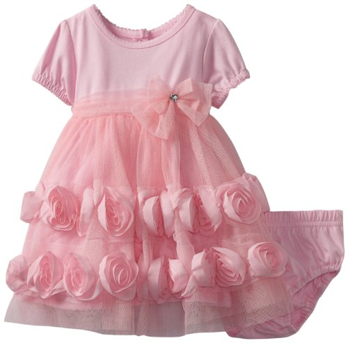 Nannette Baby-Girls Infant 2 Pieces Knit Dress & Panty, Pink-Light/Pastel, 12 Months