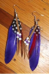 Natural Feather Fashion Earrings with Leather, Blue Tones