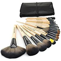 Zafos Professional Makeup Brush Set 24PCS Eyebrow Shadow Blush Cosmetic Foundation Concealer Kit with Leather Case