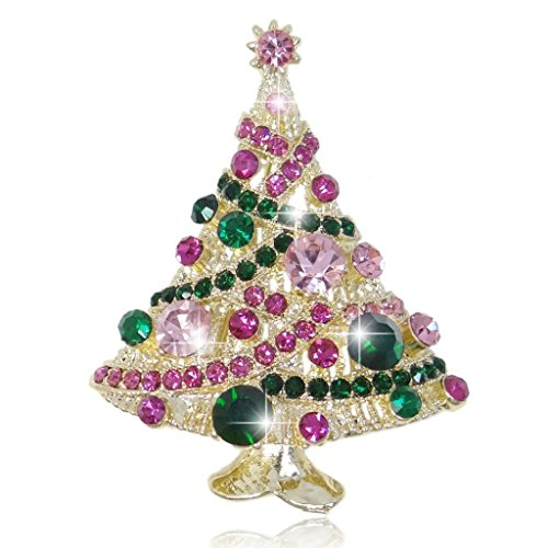 EVER FAITH Streamer Star Christmas Tree Brooch Pin Green w/ Pink Austrian Crysta…
