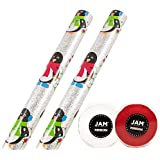 JAM Paper® Gift Wrapping Assortments - Winter Penguins Sparkle Design Gift Wrap with Red & White Ribbon Set - 2 Rolls of Wrapping Paper / 2 Rolls of Ribbon per Pack