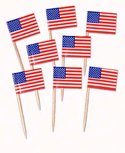 USA Flag Sandwich Flags - Pack of 30