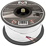 16AWG 2-Conductor Speaker Wire (100 Feet, White) by Mediabridge - 99.9% Oxygen Free Copper - UL Listed CL2 Rated for In-Wall Use (Part# SW-16X2-100-WH )