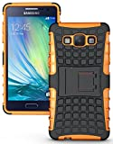 Heartly Flip Kick Stand Spider Hard Dual Rugged Armor Hybrid Bumper Back Case Cover For Samsung Galaxy A3 SM-A300F - Mobile Orange
