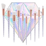 10pcs Unicorn Makeup Brush Set Professional Foundation Powder Cream Blush Make Up Brushes With Diamond Bag (White hair) (Color: White hair)