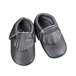 Unique Baby 100% Genuine Leather Baby Moccasins Anti-Slip Shoes L (5.9 inches) Grey