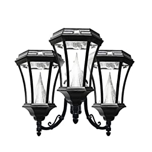 Buy Gama Sonic Victorian 3 Solar-Charged LED Lanterns on Single 3-Inch Fitter for Post Mount, Black... by Gama Sonic