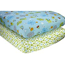 NoJo Little Bedding 2 Count Crib Sheet Set Ocean Dreams