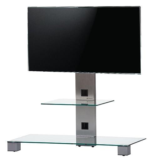 SONOROUS PL 2500 TG- Supporto da terra per TV con mensola. Altezza 88 cms. vetro telaio: Trasparente/Grigio.