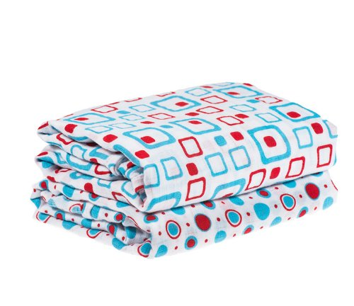 My Little Legs Geometric Turquoise & Red 100% Cotton Swaddle Set of 2 Large 45