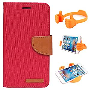 Aart Fancy Wallet Dairy Jeans Flip Case Cover for Blackberry9300 (Red) + Flexible Portable Mount Cradle Thumb OK Designed Stand Holder By Aart Store.