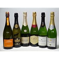 セレクション世界のスパークリングワイン飲み比べ白 辛口6本セット(フランス2本 イタリア2本 スペイン2本)泡ワイン750ml×6本セット