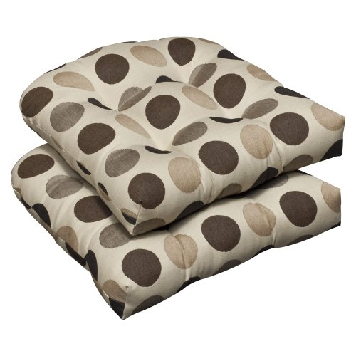 Pillow Perfect Indoor/Outdoor Brown/Beige Polka Dot Sunbrella Wicker Seat Cushions, 2-Pack photo