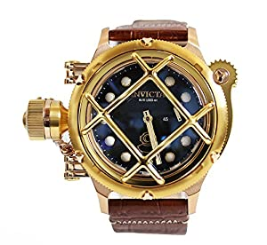 Invicta Mens LEFTY Russian Diver NAUTILUS Swiss Mechanical Cage TT Case Leather Watch 16158