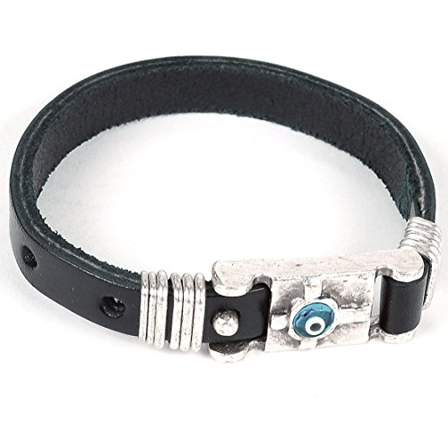 Mens Leather Adjustable Evil Eye Good Luck Bracelet