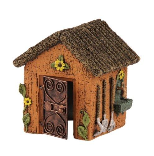 Sculpted Fairy Cottage Shed Mini Garden Decor Statue