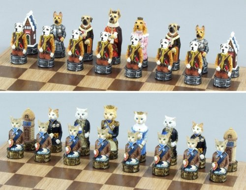 Buy Fame 7639 dogs & cats chess set II, king:3-1/4′