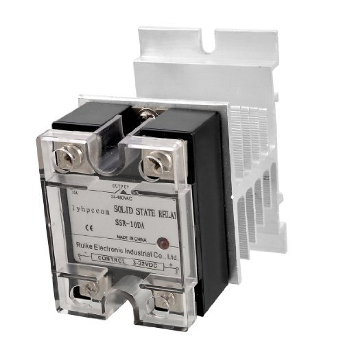 цена на Water & Wood DC 3-32V to AC 24-480V Solid State Relay SSR 10A w Silver Tone Heat Sink with Car Cleaning Cloth