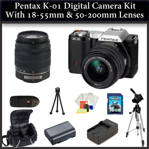 Pentax K-01 Digital Camera Double Lens Kit. Package Includes: Pentax K01 with 18-55mm & 50-200mm Lenses(Black), 16GB Memory Card, Memory Card Reader, Extended Life Replacement Battery, Rapid Travel Charger, 50