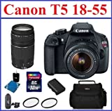 Canon EOS Rebel T5 DSLR Camera with EF-S 18-55mm IS II Dual Lens Bundle - includes: Canon 75-300mm III EF Lens - 32GB SDHC Memory Card - Card Reader - Spare Battery - Camera Bag - 58mm UV Protection Filters (2) and Lens Cleaning Kit