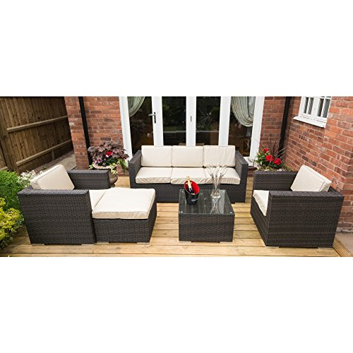 5-Seat-Sofa-Set-Rattan-Garden-or-Conservatory-Furniture-Fully-Assembled-MIXED-BROWN-WEAVE