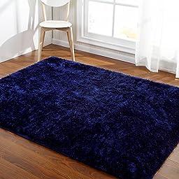 Hoomy Modern Deep Blue Floor Rugs for Living Room Solid Fluffy Bedroom Carpet Shaggy Foam Floor Mats for Home 3X6.5