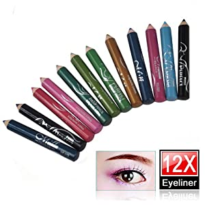 World Pride 12 Assorted Colors Cosmetic Makeup Eyeliner Pencil Eyebrow Eye Liners