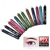 World Pride 12 Assorted Colors Cosmetic Makeup Eyeliner Pencil Eyebrow Eye Liners