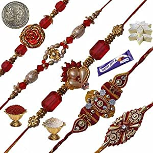 Sending Five Thread Rakhi Set Gift To Brother 110