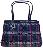 Coach Signature Stripe Tartan Framed Carryall Bag F20011 (SV/Multicolor)
