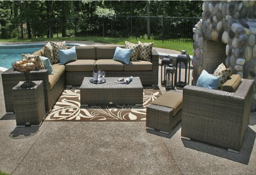 The Palmetto Collection All Weather Wicker Patio Furniture Sectional Set image