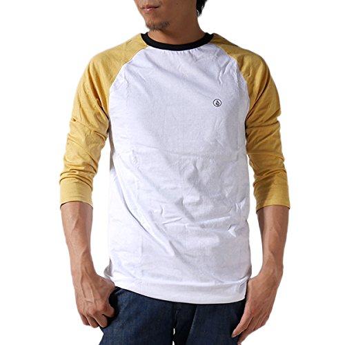 VOLCOM ボルコム ラグランTシャツ SPRINGPEAKS 3/4 RGLNT A4311404 ラグラン Tシャツ 七分袖 七分 無地 メンズ 並行輸入品 (S, 1.White (DGD))