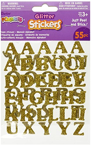 Foam Glitter Stickers 55/Pkg-Alphabet-Gold