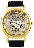 Evana Weesky Skeleton Hollow Dial Gold Watch , Watches for Men Boys (get free TTL/Trusttel Branded mobile pouch)