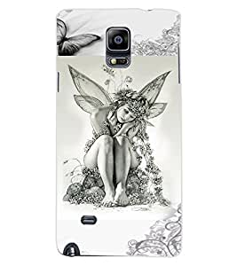 ColourCraft Butterfly Girl Design Back Case Cover for SAMSUNG GALAXY NOTE 4
