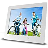 Impecca 8 Inch Digital Photo Frame Ultra Slim LCD Screen with LED Backlight (White)