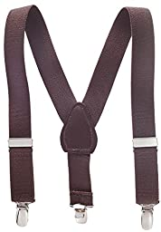 Suspenders for Kids Boys and Baby - Premium 1 Inch Suspender Perfect for Tuxedo - Brown (22\