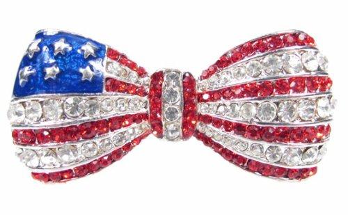 Patriotic American Flag Bow Crystal Pin Brooch