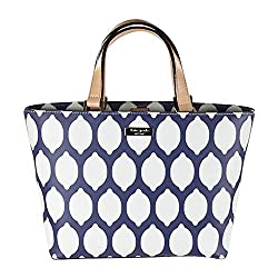 Kate Spade Grant Street Grainy Vinyl Juno Tote French Navy Lemons Navy White