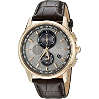Citizen Eco Drive World Chronograph A-T Perpetual Leather Mens Watch - Brown