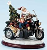 11 Battery Operated Musical Lighted Santa on Motorcycle Christmas Figure