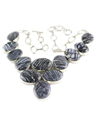 925 Silver Black Miscellaneous Stone Necklace For Women US350