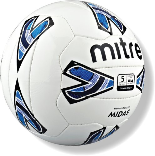 Mitre Midas Training Football - White Blue, Size 5