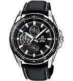 Casio Men's Edifice EF336L-1A1V Black Leather Quartz Watch with Black Dial
