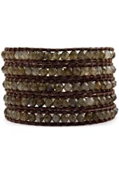 Chan Luu Labradorite Wrap Bracelet on Brown Leather
