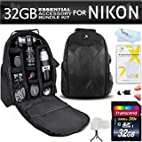 Essentials Accessory Bundle Kit For Nikon D7200, D7100, D7000, D5300, D5200, D5100, D3300, D3200, D3100, D800, D800E, D700, D600, D610, D300S, D90, D4S, df, d4, d3x DSLR Digital SLR Camera Includes 32GB High Speed SD Memory Card + BackPack Case + More