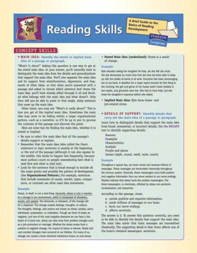 Reading Skills Study Card: A Brief Guide to the Basics of Reading Development