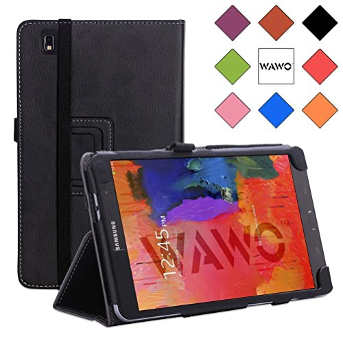 Wawo Creative Smart Cover Folio Case For Samsung Galaxy Tab Pro 8.4 Inch Tablet-Black front-869424