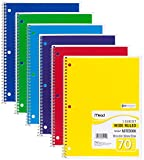 Mead Spiral Notebook, 1 Subject, 70 Wide Ruled Sheets, Assorted Colors, 6 PACK (73063)